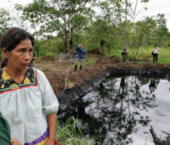 An open oil pit that residents in Ecuador's Amazonia say was left behind by Texaco/Chevron.