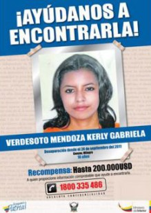 A 2012 missing persons post of Kerly Mendoza.
