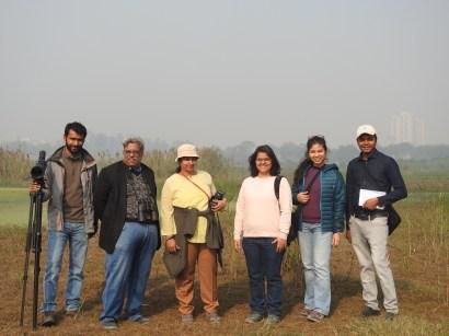 Birding team at Dheerpur Wetland Park (Credit: Falak Jalali)