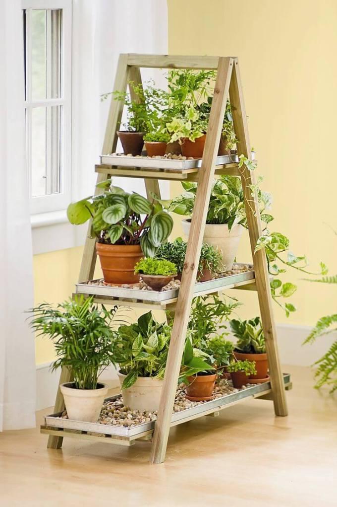Plant Flower Display Stand 3 Tier Wooden Plant Ladder Indoor Outdoor Flower Ladder
