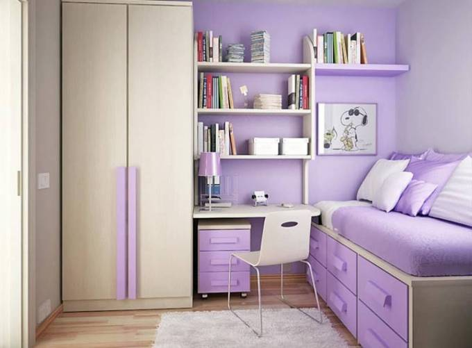 Cute-Purple-Bedroom-Design-for-Teenage-Girls-Room-with-Small-Space