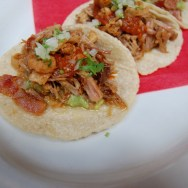 Taco Los Tres Cochinitos (The Three Little Pigs) at Loteria Grill