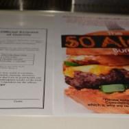 The 50 Alarm Burger info sheet @ Slater's 50/50