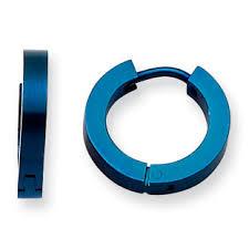 A blue color coated hoop men's earrings.