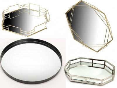 tăvi cu oglindă metalice minimaliste geometrice
