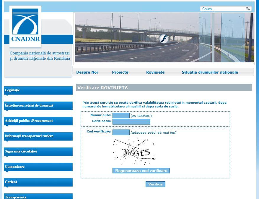 CNADNR a lansat serviciul online pentru rovignete