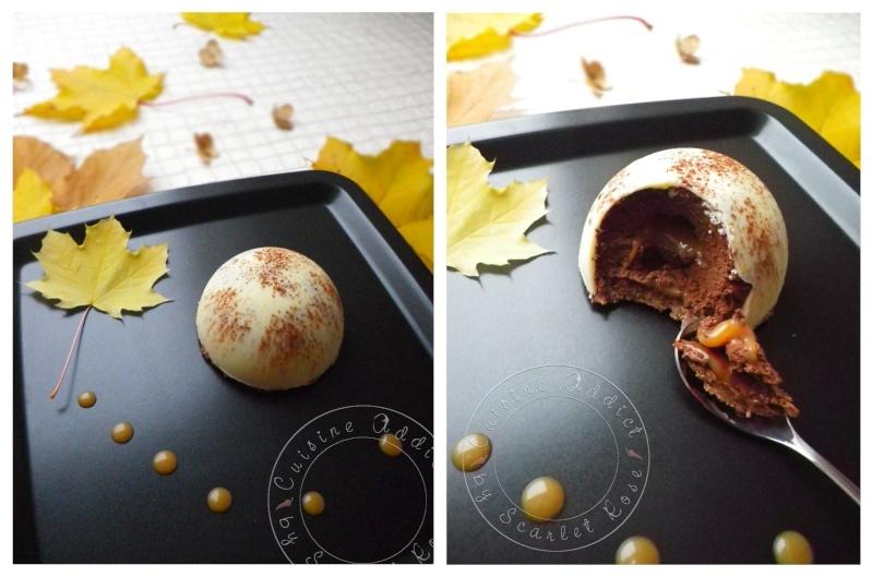 dome de mousse au chocolat coeur coulant au caramel sur son croustillant pralinoise
