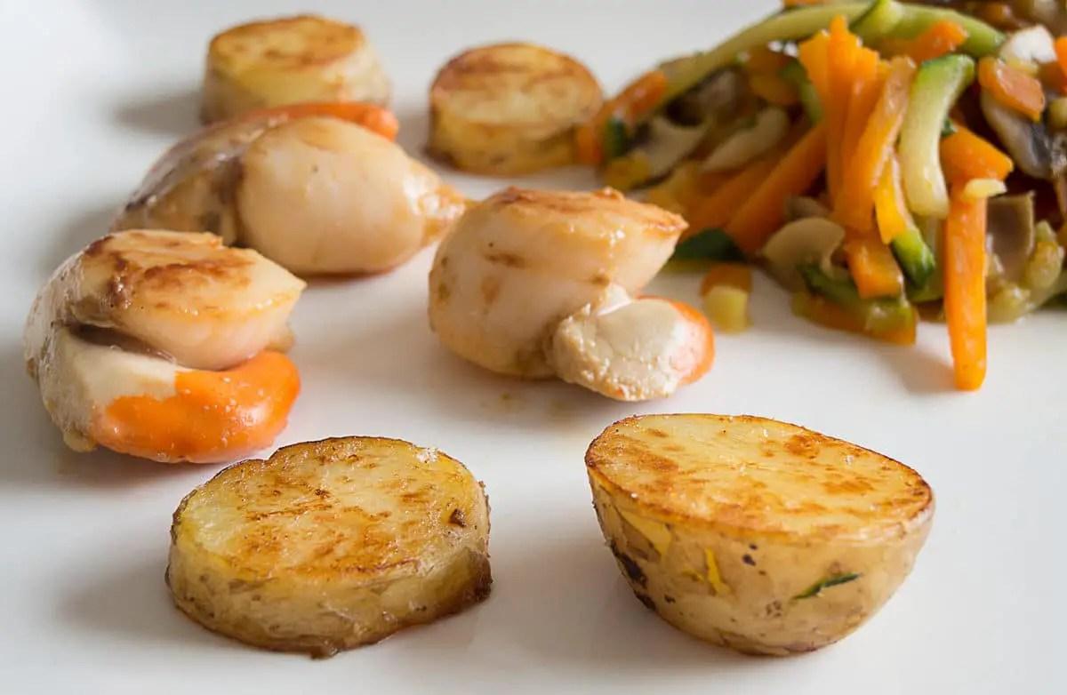 saint jacques et pommes de terre nouvelles