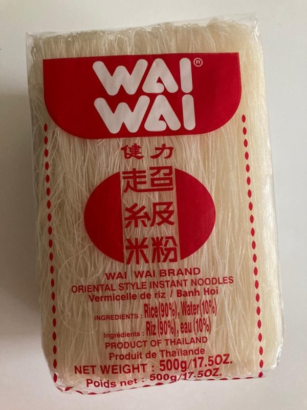 Wai Wai Rice Vermicelli Noodles 500g High quality vermicelli noodles for your favourite Thai recipes. Buy this item as part of our Thai Box or BYOB (Build your own box).