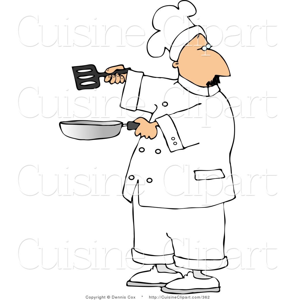 Cuisine Clipart Of A Male Chef Holding A Frying Pan And