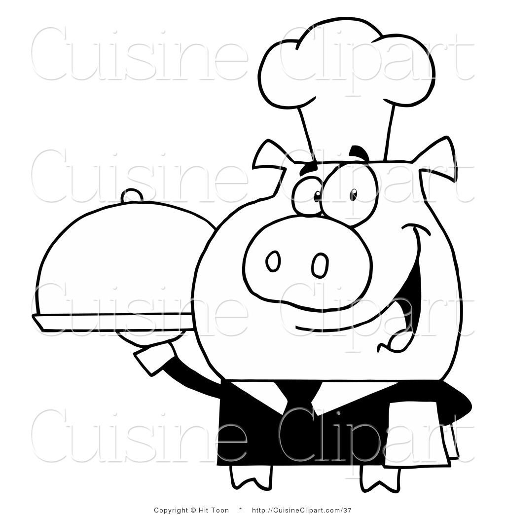 Cuisine Clipart Of A Outlined Waiter Pig Holding A Meal On A Serving Tray By Hit Toon
