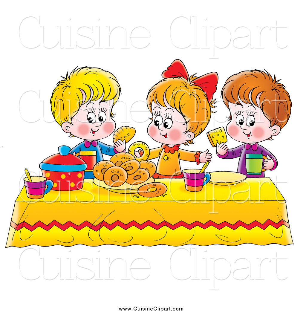 Cuisine Clipart Of A White Girl And Two Boys Eating Bread