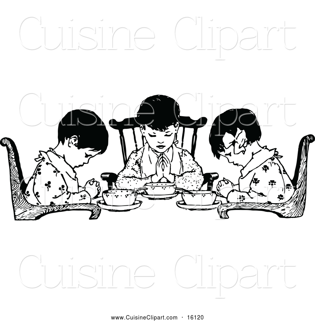 Cuisine Clipart Of Black And White Girls Praying Over Food By Prawny Vintage