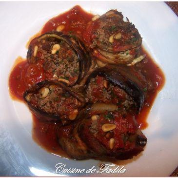 Roulé d'aubergine à la viande haché