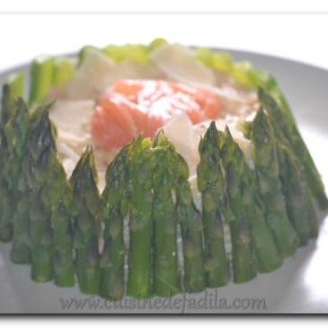 Risotto au saumon fumé et aux asperges verte façon charlotte