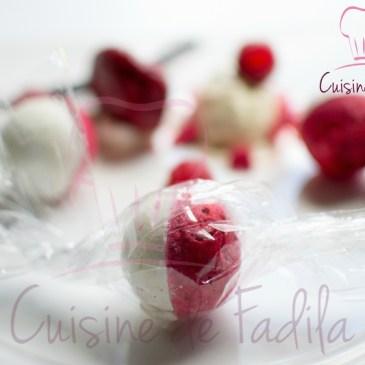 Le bonbon vacherin : vacherin glacé revisité vanille et framboise
