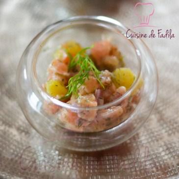 Tartare de saumon aux agrumes et au gingembre