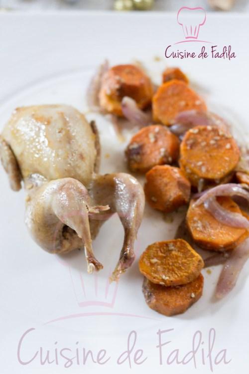 caille orange patate douce rôtie