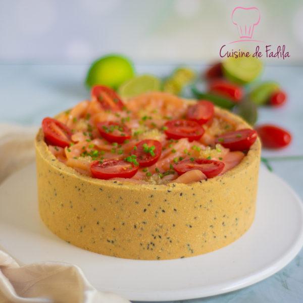 Cheesecake salé au saumon fumé et citron caviar