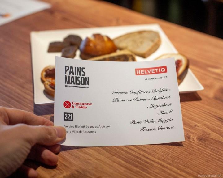 Pains maison menu card
