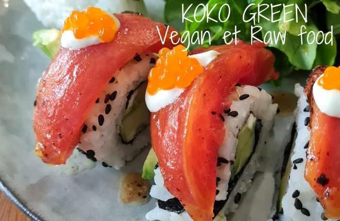 Assiette vegan à Nice sushis et makis avec des similis carnés fait maison (saumon, poulet mariné, thon...).