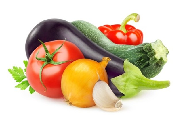 21330433 - fresh vegetables  ratatouille ingredients  isolated on white