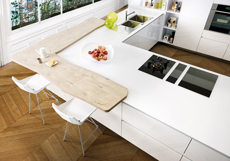 plan de travaul  blanc et bois