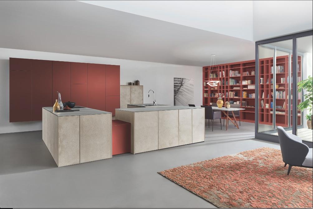 Leicht LivingKitchen cuisine rouge et beton
