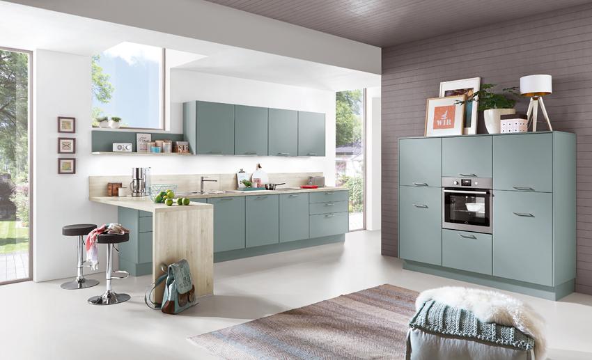 cuisine bleu gris sobre