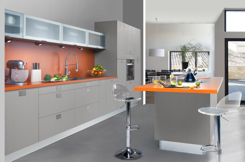 cuisine grise et orange