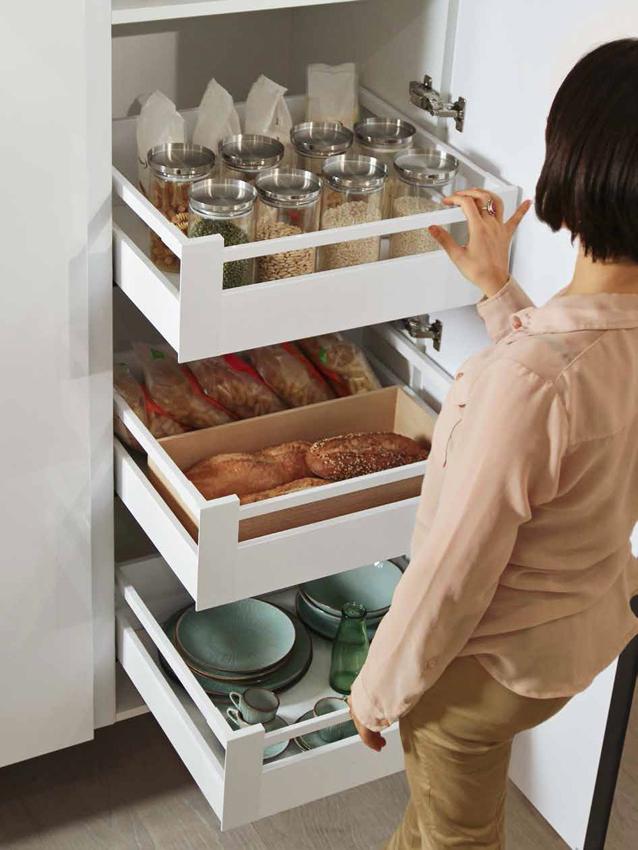 cuisine tiroirs coulissants blancs