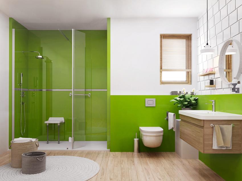 salle de bain design vert