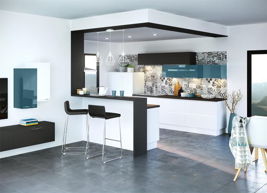cuisine moderne blanche et noire