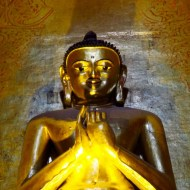 Bagan, Myanmar-Ananda Temple, Giant Buddha, Up Close