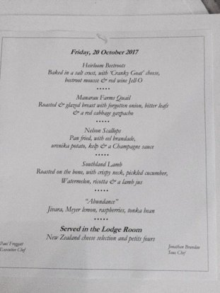 Huka Lodge–Dinner Menu