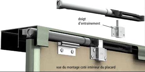 Pose De Porte De Placard Coulissante Avec Amortisseur