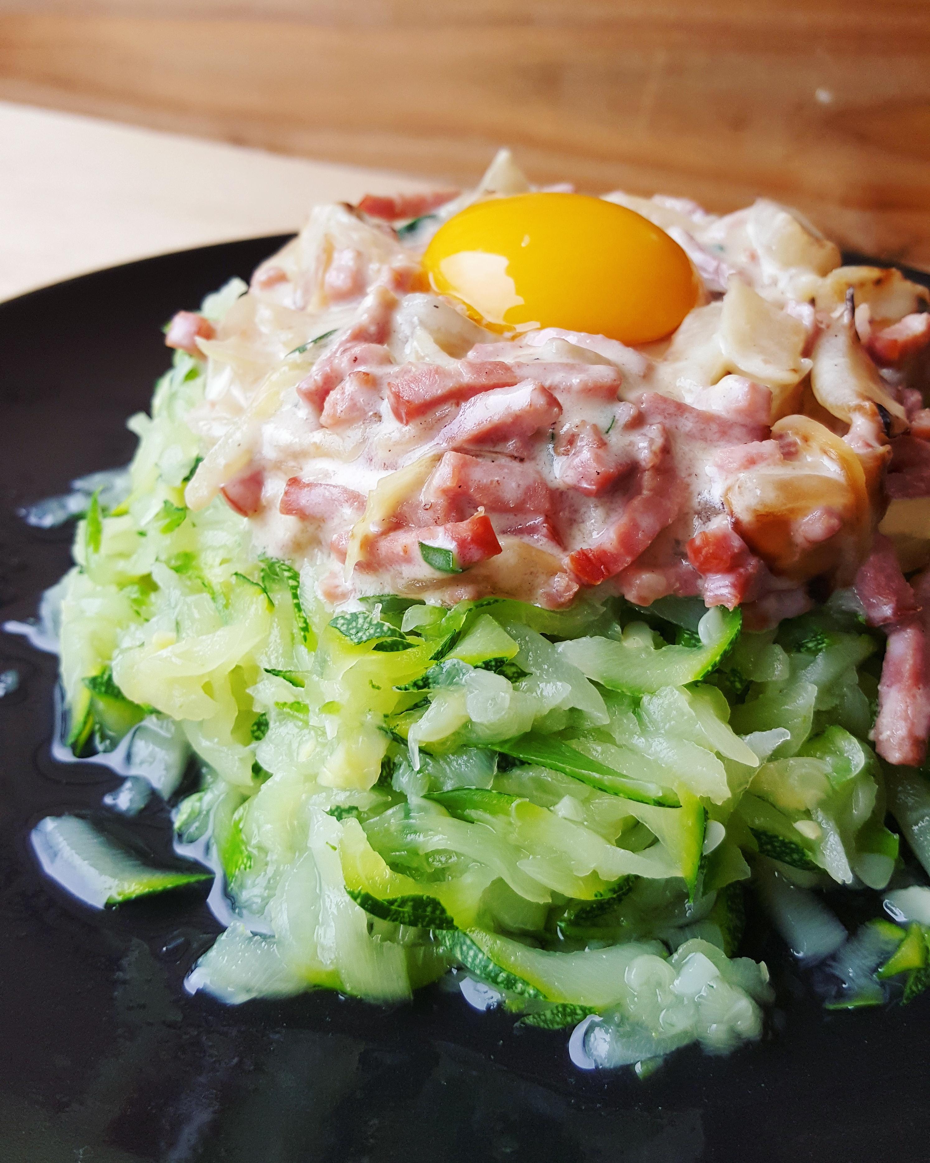 Tagliatelles de courgette la carbonara cuisine ta ligne for Cuisine ta ligne