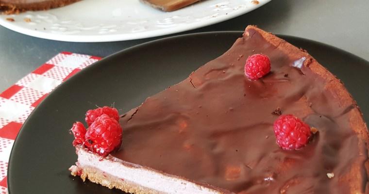 Cheesecake aux framboises & nappage au chocolat noir