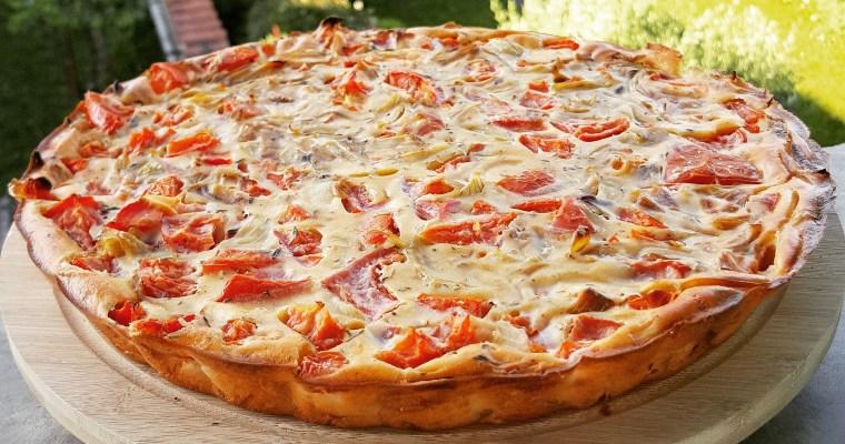Quiche sans pâte à la tomate, ricotta & oignons
