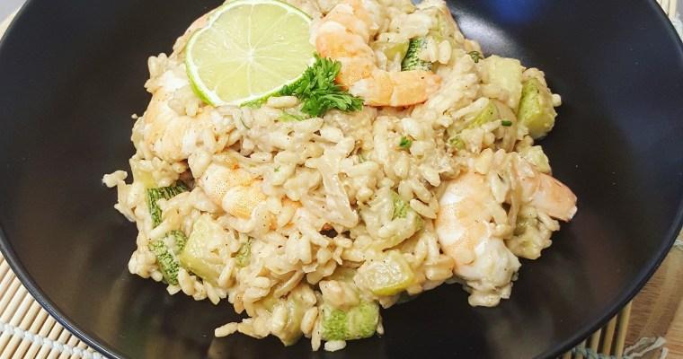 Risotto aux crevettes, courgettes & coco