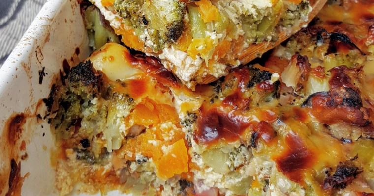 Gratin aux fruits de mer, brocolis et patate douce