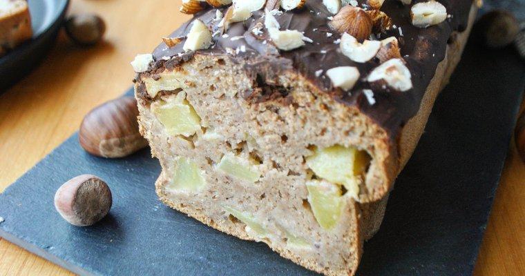 Cake aux pommes, châtaigne & nappage choco-noisettes