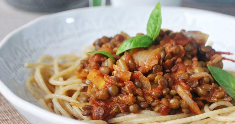 Spaghettis à la bolognaise de lentilles (vegan)