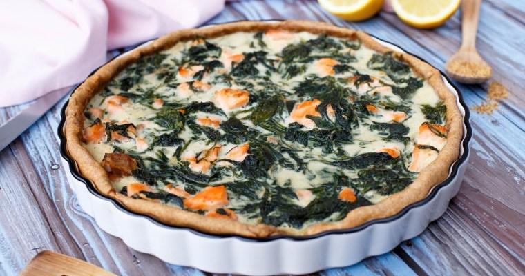 Quiche au saumon, épinards et fromage frais
