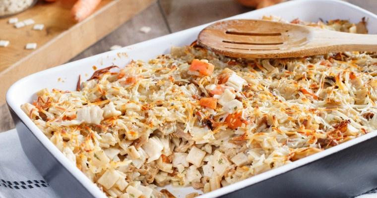 Gratin de crozets à la cancoillotte, bacon et carotte