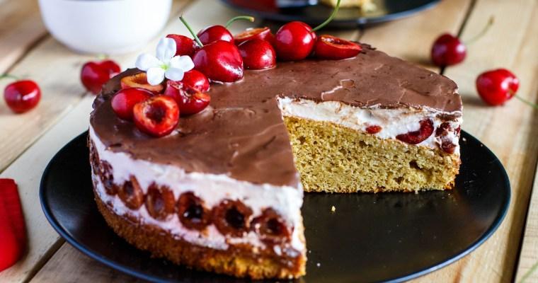 Gâteau aux cerises et au fromage blanc façon forêt blanche (sain et léger)