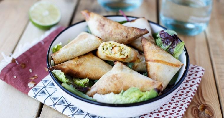 Samoussas aux courgettes, crevettes et curry