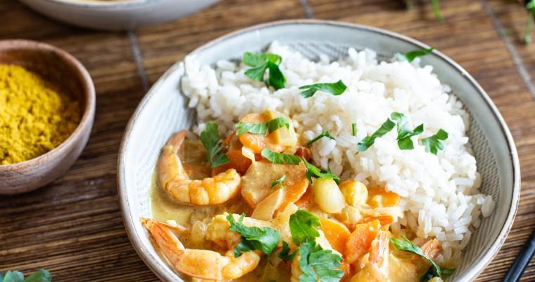 Curry de crevettes aux carottes