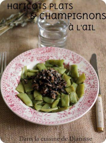 Poêlée de haricots plats et champignons