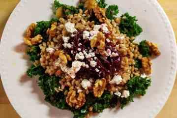 Kale mushrooms farro beets